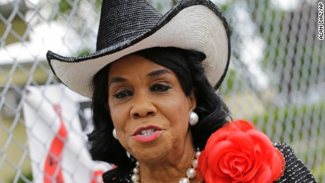 Rep. Frederica Wilson, D-Fla., talks to reporters, Wednesday, Oct. 18, 2017, in Miami Gardens, Fla.