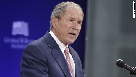 Former President George W. Bush speaks at a forum in New York.