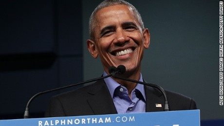 RICHMOND, VA - OCTOBER 19:  Former U.S. President Barack Obama (L) speaks as he campaigns for Democratic gubernatorial candidate and Virginia Lieutenant Governor Ralph Northam (R) during a campaign event at the Greater Richmond Convention Center October 19, 2017 in Richmond, Virginia. Northam is running against Republican Ed Gillespie to be the next governor of Virginia.  (Photo by Alex Wong/Getty Images)