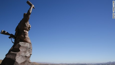 The Hero's Acre statue in Namibia seen from behind.