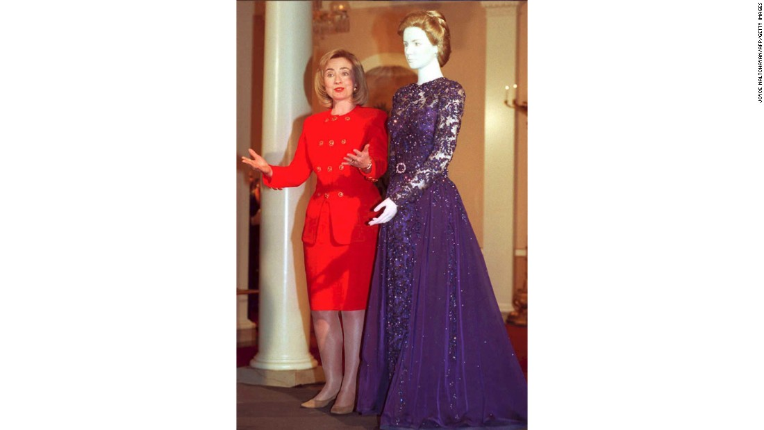 First lady Hillary Clinton donates the dress she wore to the 1993 inaugural balls to the Smithsonian's National Museum of American History on March 6, 1995.