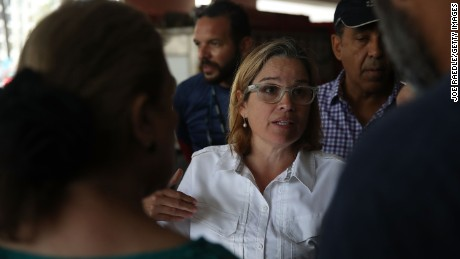 SAN JUAN, PUERTO RICO:  San Juan Mayor Carmen Yulin Cruz deals with an emergency situation where patients at a hospital need to be moved because a generator stopped working in the aftermath of Hurricane Maria on September 30, 2017 in San Juan, Puerto Rico. (Joe Raedle/Getty Images)