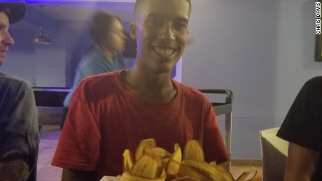 Christopher Rodrigez celebrated his birthday last night with a big platter of fried bananas and seafood