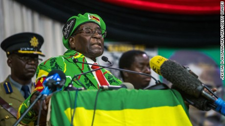 Zimbabwe President Robert Mugabe delivering a speech on October 7, 2017 in Harare.