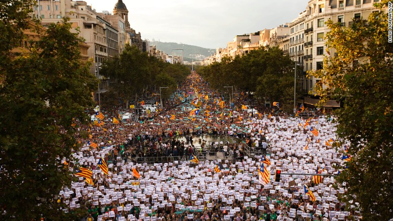 Demonstrators march in Barcelona on Saturday.