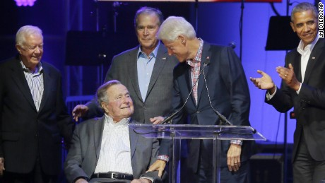 Former Presidents from right, Barack Obama, Bill Clinton, George W. Bush, George H.W. Bush and Jimmy Carter gather on stage during a hurricanes relief concert in College Station, Texas, Saturday, Oct. 21, 2017. All five living former U.S. presidents joined to support a Texas concert raising money for relief efforts from Hurricane Harvey, Irma and Maria's devastation in Texas, Florida, Puerto Rico and the U.S. Virgin Islands.