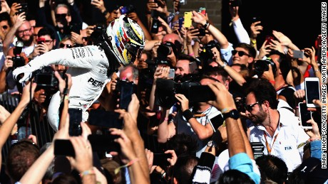 AUSTIN, TX - OCTOBER 22:  Race winner Lewis Hamilton of Great Britain and Mercedes GP celebrates in parc ferme  during the United States Formula One Grand Prix at Circuit of The Americas on October 22, 2017 in Austin, Texas.  (Photo by Mark Thompson/Getty Images)