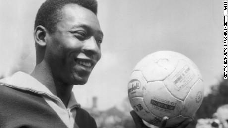 Brazilian footballer Pele in training for Brazil's match against England in 1963.