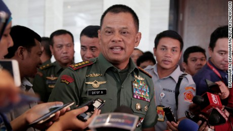 Indonesian military Chief Gatot Nurmantyo talks to reporters in Jakarta, Indonesia, January 5, 2017.