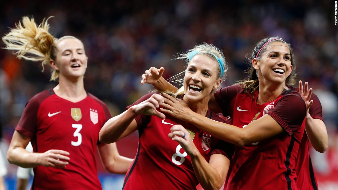 US midfielder Julie Ertz, center, celebrates after scoring the opening goal of an international friendly against South Korea on Thursday, October 19. The Americans won 3-1 in New Orleans.