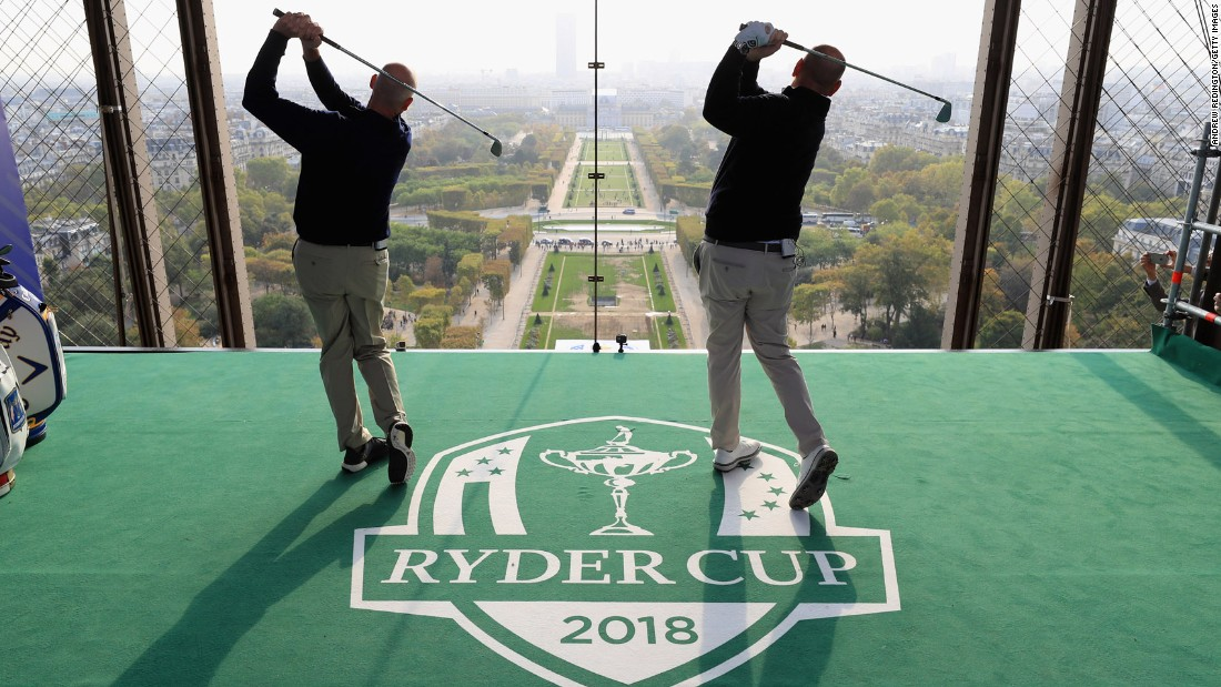 US Ryder Cup captain Jim Furyk and Europe captain Thomas Bjorn tee off from a platform on the Eiffel Tower in Paris on Tuesday, October 17. Next year's Ryder Cup will take place in France.