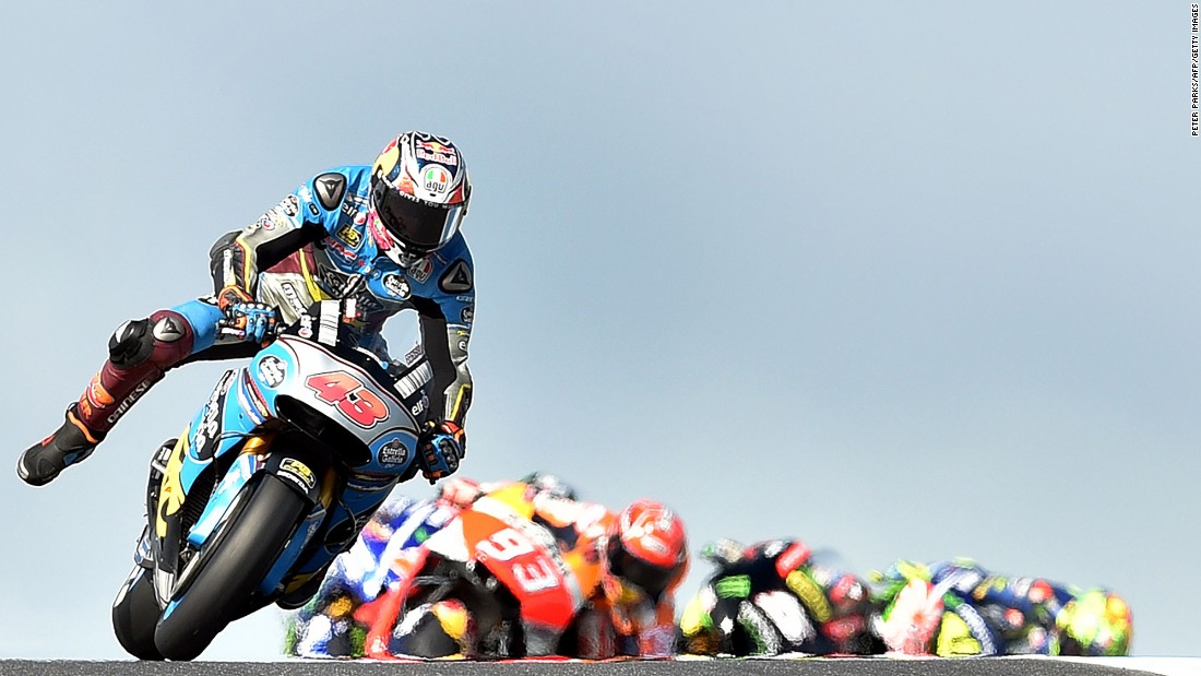Jack Miller leads a pack of MotoGP riders during the Australian Grand Prix on Sunday, October 22.
