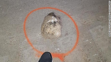 Police say this rock was thrown off an overpass in Michigan on October 18.