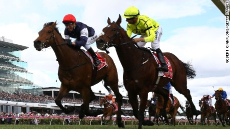 Moreira (yellow) fininshed runner-up  in 2016 Cup on board Heartbreak City behind the winner Almandin