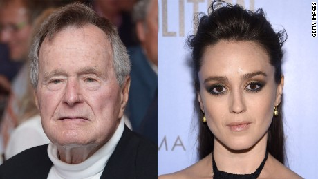 Former President George H.W. Bush, left, and Actress Heather Lind, right.