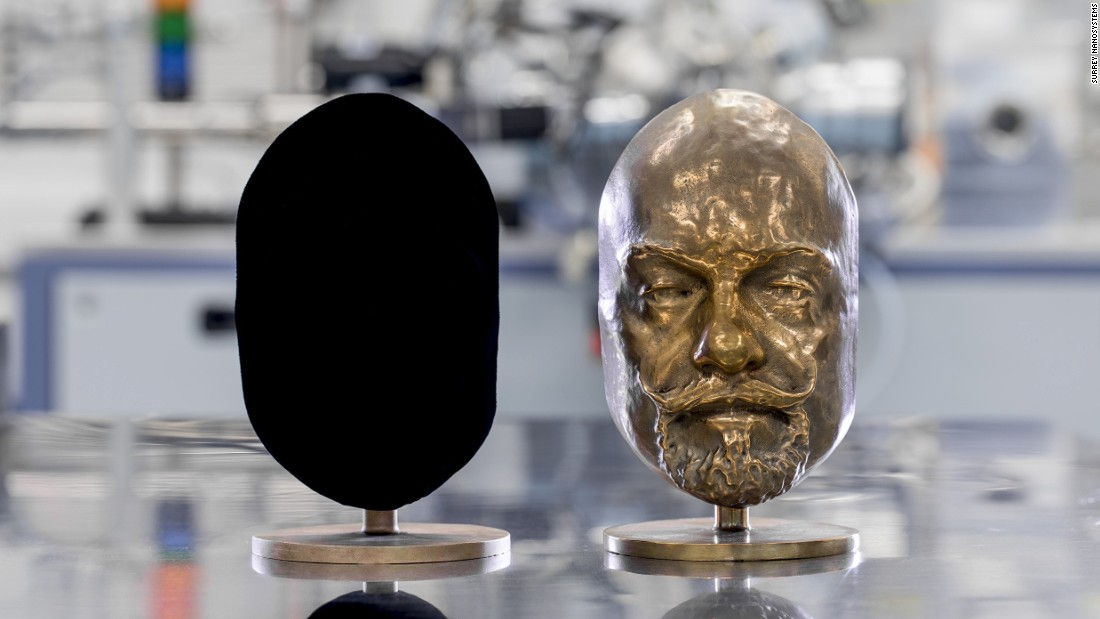 Vantablack's surreal effect on the eye is demonstrated on this bust. Coating the 3D bust with Vantablack makes it appear as a head-shaped black-hole when viewed from the front.