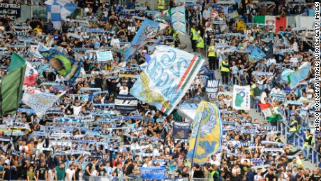 Lazio fans before the Serie A match between Lazio and US Sassuolo at Stadio Olimpico