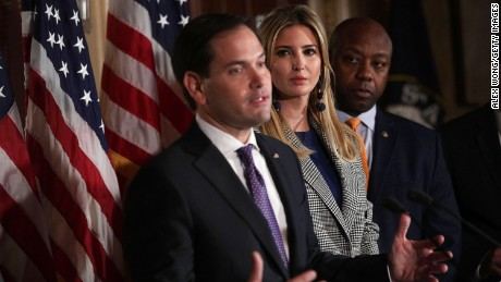 WASHINGTON, DC - OCTOBER 25:  (L-R) U.S. Sen. Marco Rubio (R-FL) speaks as Ivanka Trump and Sen. Tim Scott (R-SC) listen during a news conference October 25, 2017 at the Capitol in Washington, DC. (Alex Wong/Getty Images)