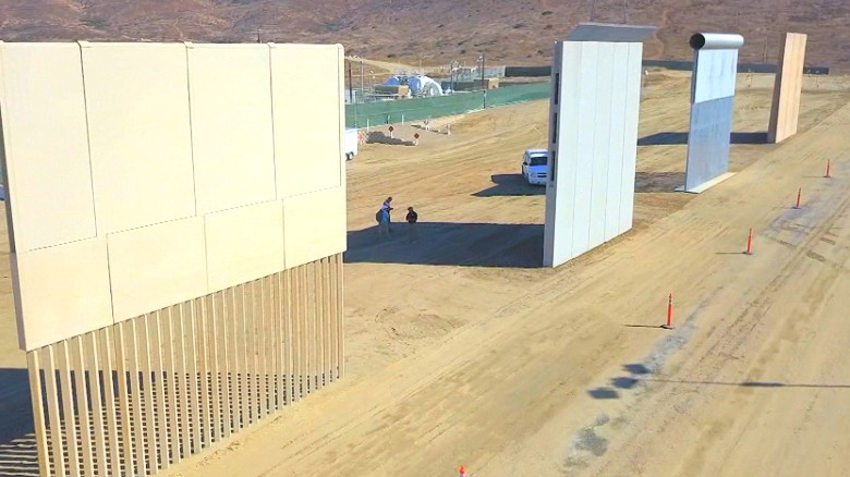 8 border wall prototypes on display