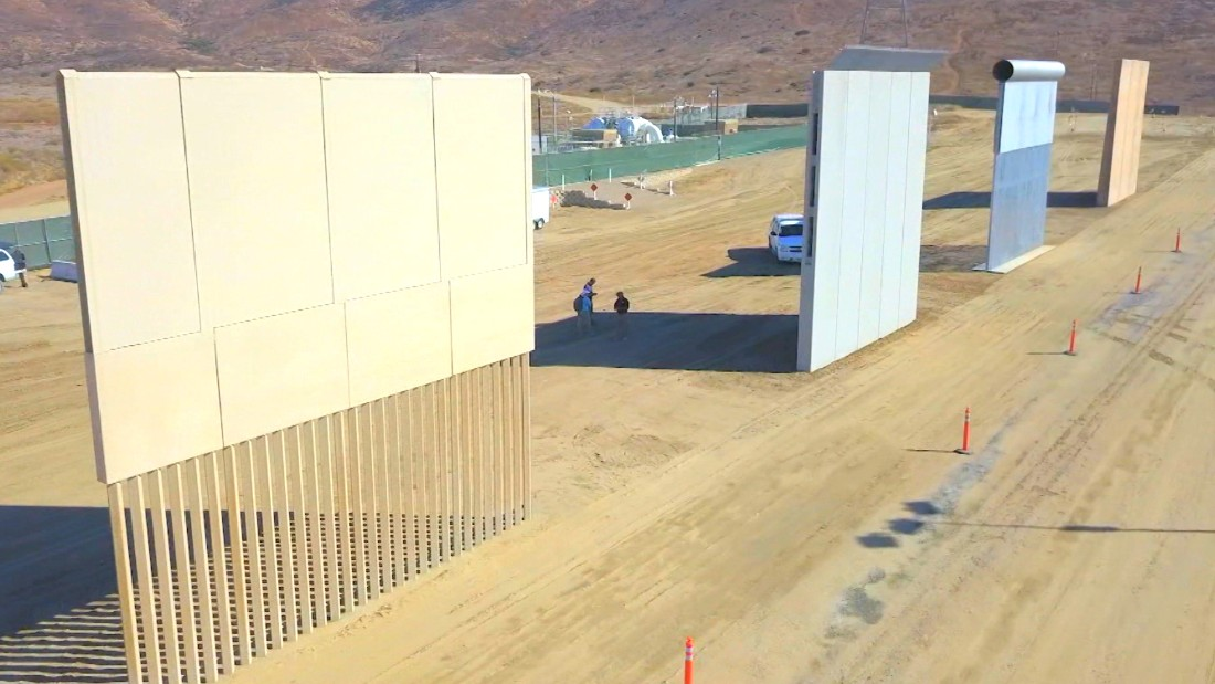 8 border wall prototypes on display cnn video for Border wall
