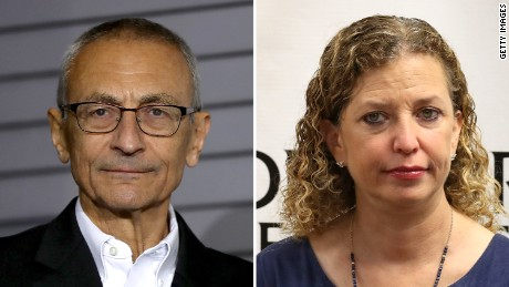 Hillary Clinton's campaign chairman John Podesta at left and former Democratic National Committee chairwoman Debbie Wasserman Schultz at right