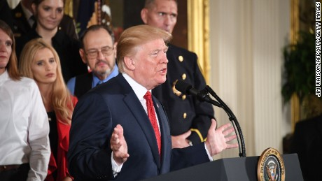 "US President Donald Trump delivers remarks on combatting drug demand and the opioid crisis on October 26, 2017 in the East Room of the White House in Washington, DC. US President Donald Trump on October 26, 2017 is to declare the opioid crisis a ""nationwide public health emergency,"" stepping up the fight against an epidemic that kills more than 100 Americans every day, officials said. / AFP PHOTO / JIM WATSON        (Photo credit should read JIM WATSON/AFP/Getty Images)"