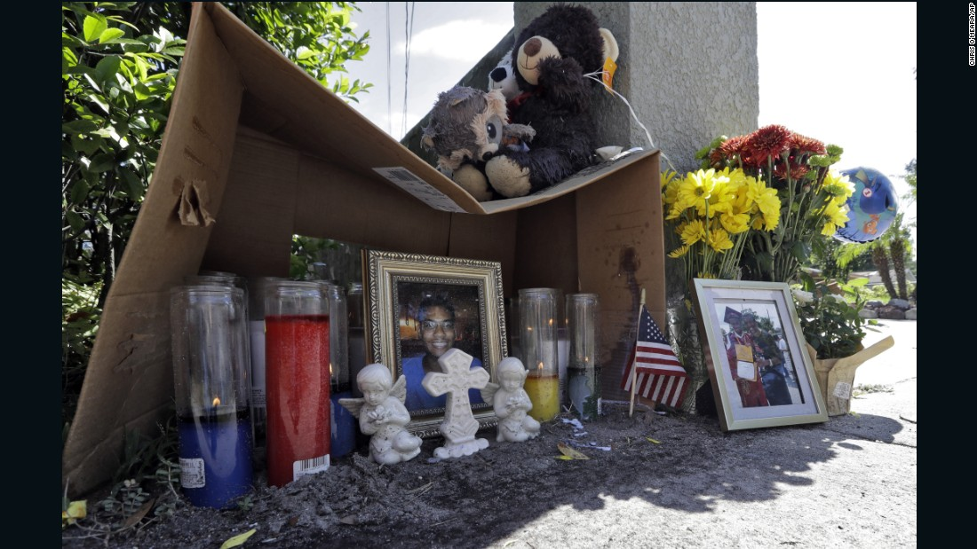 "A makeshift memorial for shooting victim Anthony Naiboa sits on a sidewalk in Tampa, Florida, on Tuesday, October 24. The 20-year-old is one of three people shot in the same neighborhood in 11 days, and <a href=""http://www.cnn.com/2017/10/21/us/tampa-homicide-victims/index.html"" target=""_blank"">police believe the deaths are related.</a>"