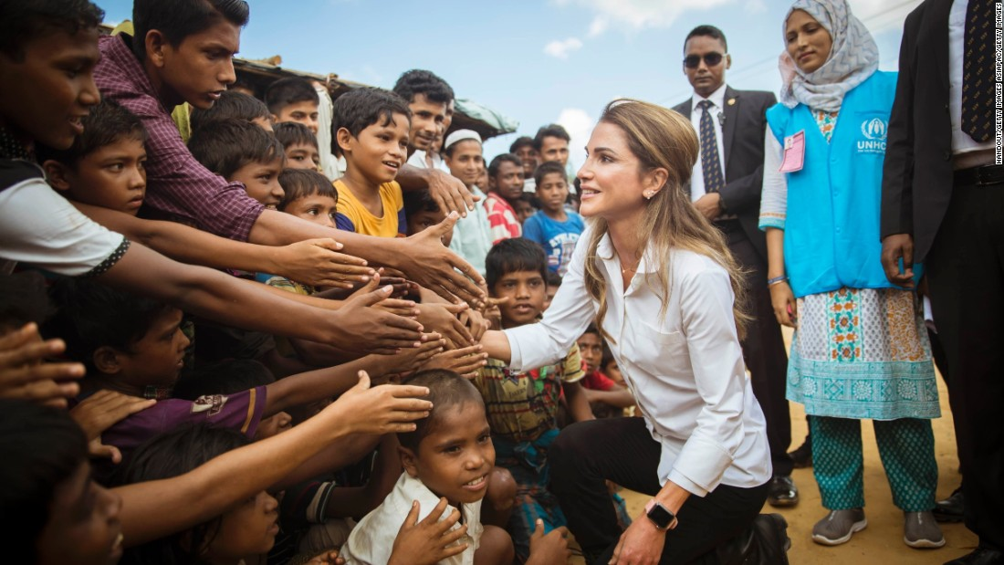 "Jordan's Queen Rania meets Rohingya Muslim children as she visits a refugee camp in Ukhia, Bangladesh, on Monday, October 23. More than 500,000 Rohingya have fled Myanmar since late August, creating ""a humanitarian and human rights nightmare,"" according to Antonio Guterres, secretary-general of the United Nations. <a href=""http://www.cnn.com/interactive/2017/10/world/rohingya-refugees-cnnphotos/"" target=""_blank"">Photos: A new life for the Rohingya</a>"