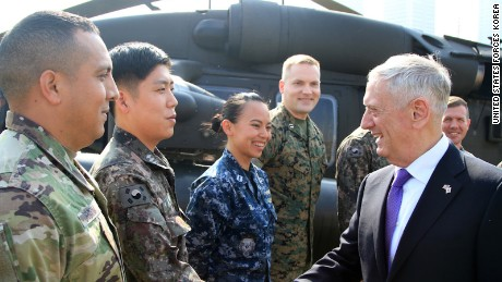 US Secretary of Defense James Mattis meets US and South Korean troops at Yongsan garrison in Seoul, South Korea.