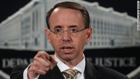 WASHINGTON, DC - OCTOBER 17:  Deputy U.S. Attorney General Rod Rosenstein speaks during a news conference October 17, 2017 at the Justice Department in Washington, DC. Rosenstein held a news conference to announce that federal grand juries in the Southern District of Mississippi and the District of North Dakota have indicted two Chinese nationals and their North American based traffickers and distributors for separate conspiracies to distribute large quantities of fentanyl and fentanyl analogues and other opiate substances in the U.S.  (Photo by Alex Wong/Getty Images)