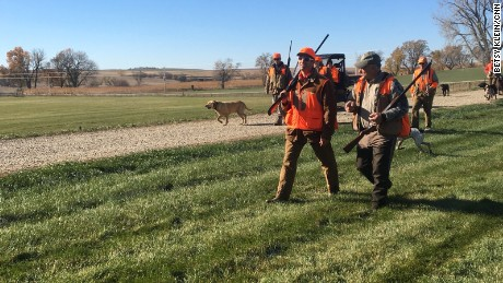 Donald Trump Jr and Rep. Steve King wrap up the morning pheasant hunt in Akron, IA on Saturday October 28, 2017.