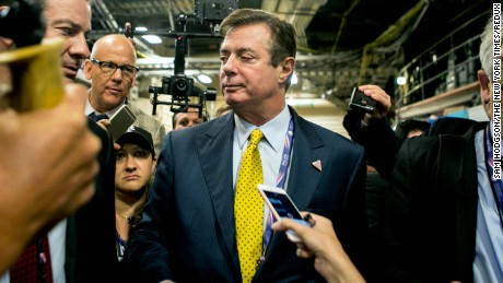 FILE -- Paul Manafort, President Donald Trump's former campaign manager, speaks to reporters during the republican National Convention in Cleveland, Ohio, July 20, 2016. Phone records and intercepted calls show that members of Trump's 2016 campaign and other associates, including Manafort, had repeated contacts with senior Russian intelligence officials in the year before the election, according to four current and former senior American officials. (Sam Hodgson/The New York Times)