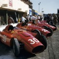 f1 ferrari cars in line