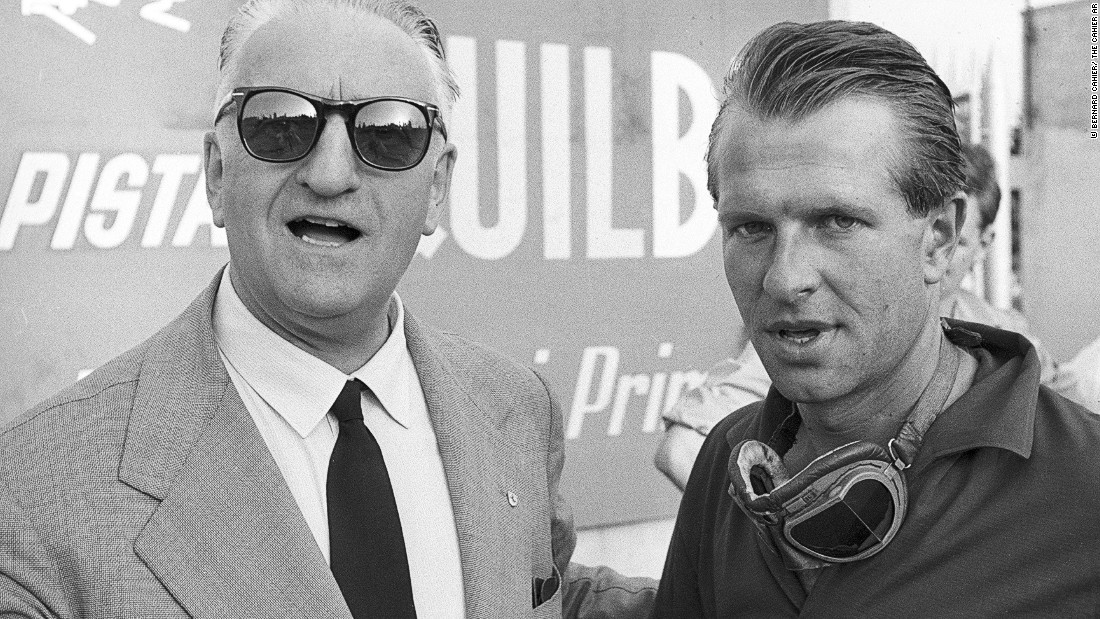 Ferrari and British driver Peter Collins, who raced for the Italian team from 1956 to 1958. Ferrari was an autocratic leader who would pit his drivers against one another in the belief that it would improve their performance.
