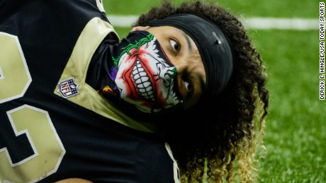 New Orleans Saints wide receiver Willie Snead (83) wears a mask over his face during warm ups before a game against the Chicago Bears at the Mercedes-Benz Superdome.