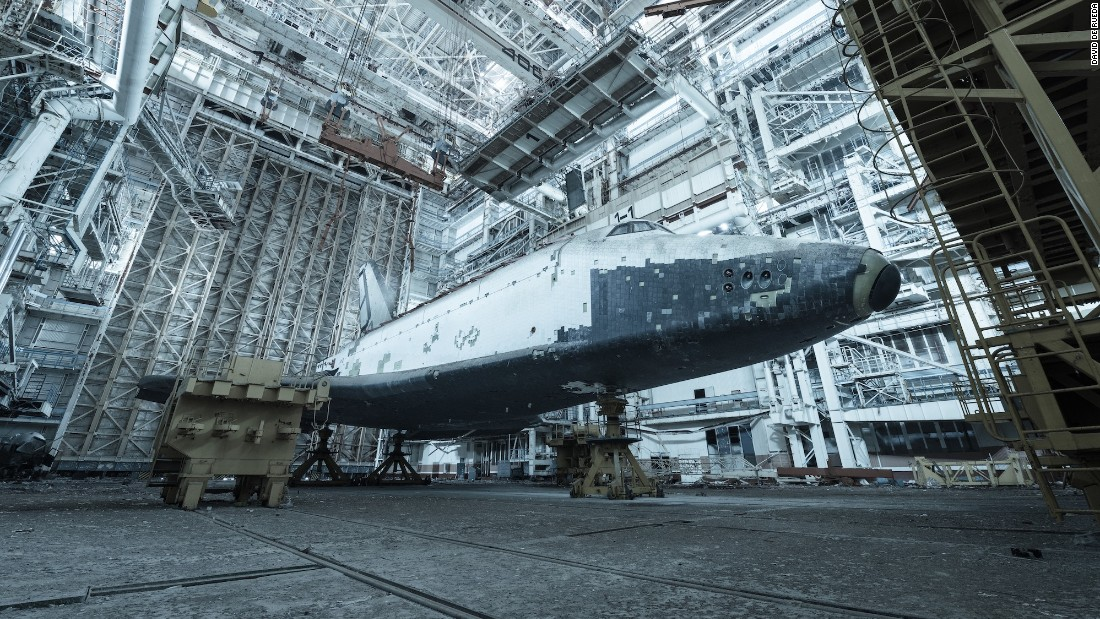 Two abandoned Soviet space shuttles left in the Kazakh steppe
