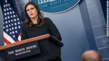 White House spokesperson Sarah Huckabee Sanders speaks at the press briefing at the White House in Washington, DC, on October 31, 2017.