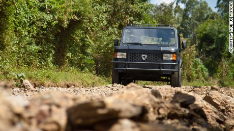 The car is designed for the rough terrain of many of Africa's roads.