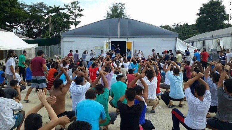 Refugees and asylum seekers protest in the ground of the Manus Island detention center, Tuesday, October 31.