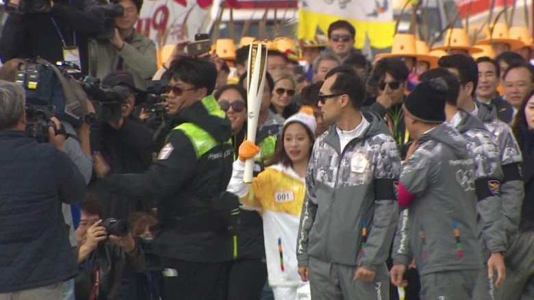 olympic flame arrives in seoul hancocks pkg _00001104