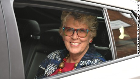 """The Great British Bake-Off"" judge Prue Leith is seen leaving Channel 4 studios in central London."