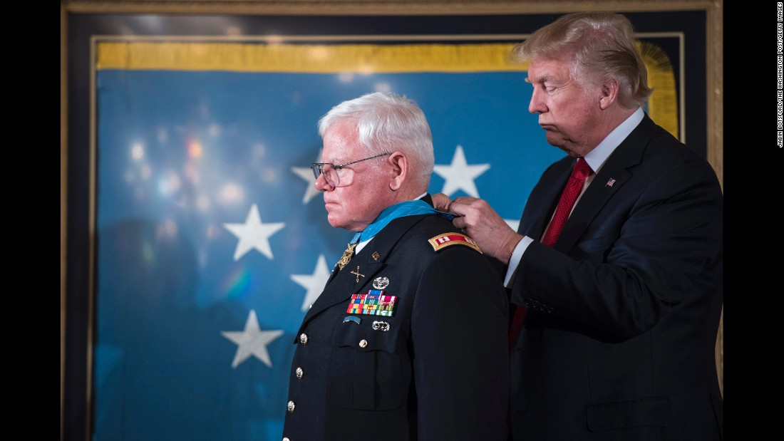 "President Donald Trump <a href=""http://www.cnn.com/2017/10/23/politics/donald-trump-medal-of-honor-gary-rose/index.html"" target=""_blank"">presents the Medal of Honor</a> to retired Army Capt. Gary Michael Rose on Monday, October 23. Rose served as a medic in the Vietnam War, and during a four-day operation he repeatedly risked his life to provide medical aid to fellow soldiers."
