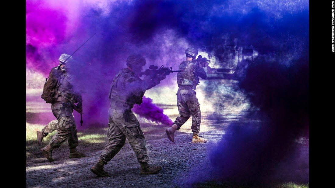 US airmen conduct a demonstration at Georgia's Moody Air Force Base on Wednesday, October 18.