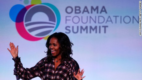 Former first lady Michelle Obama speaks at the Obama Foundation Summit in Chicago, Illinois, November 1, 2017.