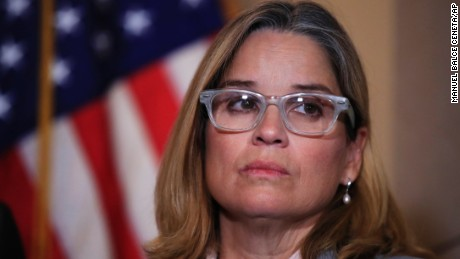 San Juan, Puerto Rico Mayor Carmen Yulín Cruz, attends a House Democratic Leaders news conference with Democratic Caucus Chairman Rep. Joe Crowley, D-N.Y., on Capitol Hill in Washington, Wednesday, Nov. 1, 2017. (AP/Manuel Balce Ceneta)