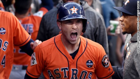 LOS ANGELES, CA - NOVEMBER 1:  Alex Bregman #2 of the Houston Astros reacts to scoring a run in the first inning during Game 7 of the 2017 World Series against the Los Angeles Dodgers at Dodger Stadium on Wednesday, November 1, 2017 in Los Angeles, California. (Photo by LG PattersonMLB Photos via Getty Images)