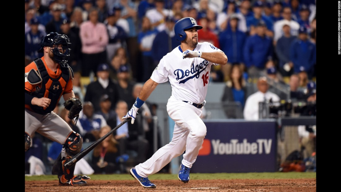 Andre Ethier drives in the Dodgers' only run while pinch-hitting for Clayton Kershaw in the sixth inning.