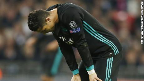 Real Madrid's Cristiano Ronaldo reacts after missing a shot on goal in the Champions League against Spurs.