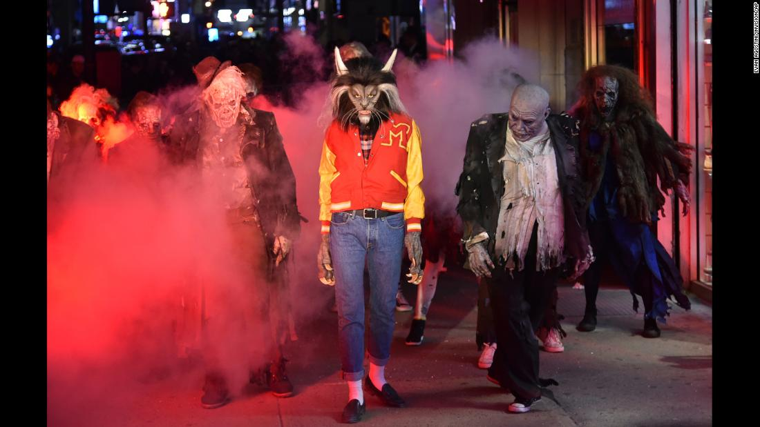 "Supermodel Heidi Klum, dressed as a werewolf, performs a dance from Michael Jackson's ""Thriller"" video at her Halloween party in New York City on Tuesday, October 31."