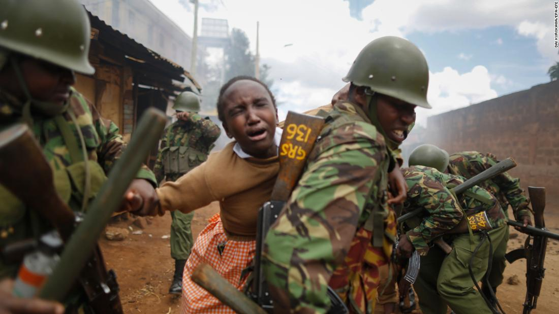 "A police officer carries a schoolgirl on his back to get her away from clashes between police and protesters in Nairobi, Kenya, on Monday, October 30. She had been affected by tear gas. The full results of Kenya's election rerun <a href=""http://www.cnn.com/2017/10/29/africa/kenya-election-rerun-results/index.html"" target=""_blank"">are expected to be released Monday,</a> capping off months of drama and sporadic violence that has highlighted ongoing discord in the country."